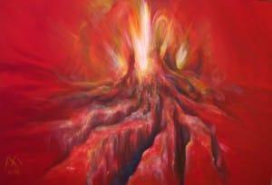 Vulkan 150 x 120 cm, Acryl auf Leinwand