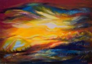 Himmel - Erde 90 x 60 cm Acryl auf Holzpanele