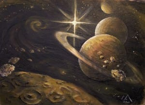 Space 1 -  Acryl auf Holz 90 x 65 cm
