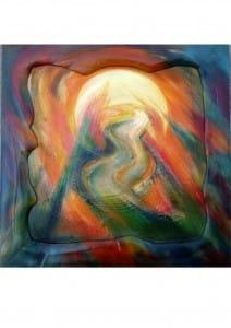Titel: Weg Ca. 85x85 cm Bild, incl. bemaltem Holzrahmen ca. 15 cm. Material: Acryl-Pastellfarben auf Sandgrundierung, Holzpanele incl. Schutzfirnis. Handgearbeiteter Holzrahmen