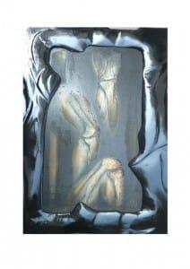 Titel: Knie Bildgröße 67×111 cm zzgl. handgearbeiteten bemaltem Holzrahmen von ca. 20 cm. Acryl-Pastellkreide auf Sandgrund und Holzpanele.