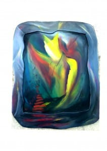 Titel: Ahriman Bildgroesse: Ca. 102x80 cm. Technik: Ölfarbe, Pastellkreide auf Leinwand mit geschnitztem Holzrahmen.
